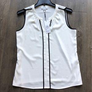 New Calvin Klein Sleeveless Blouse White Black